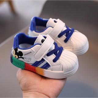 Giày Thể Thao Chuột Mickey Cầu Vồng Cho Bé Trai Bé Gái Size 15-25
