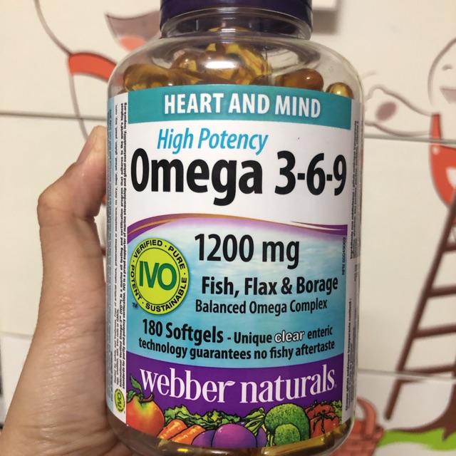 Dầu Ca Webber Naturals High Potency Omega 3 6 9 180 Vien