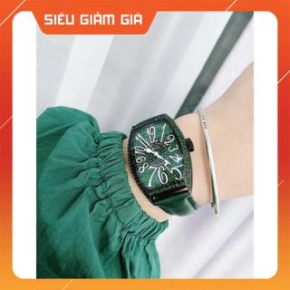 Đồng hồ g.u.o.u mặt full đá màu xanh ngọc cực xinh , dây da bên mềm dẻo, mặt đính đá tinh xảo donghoguou