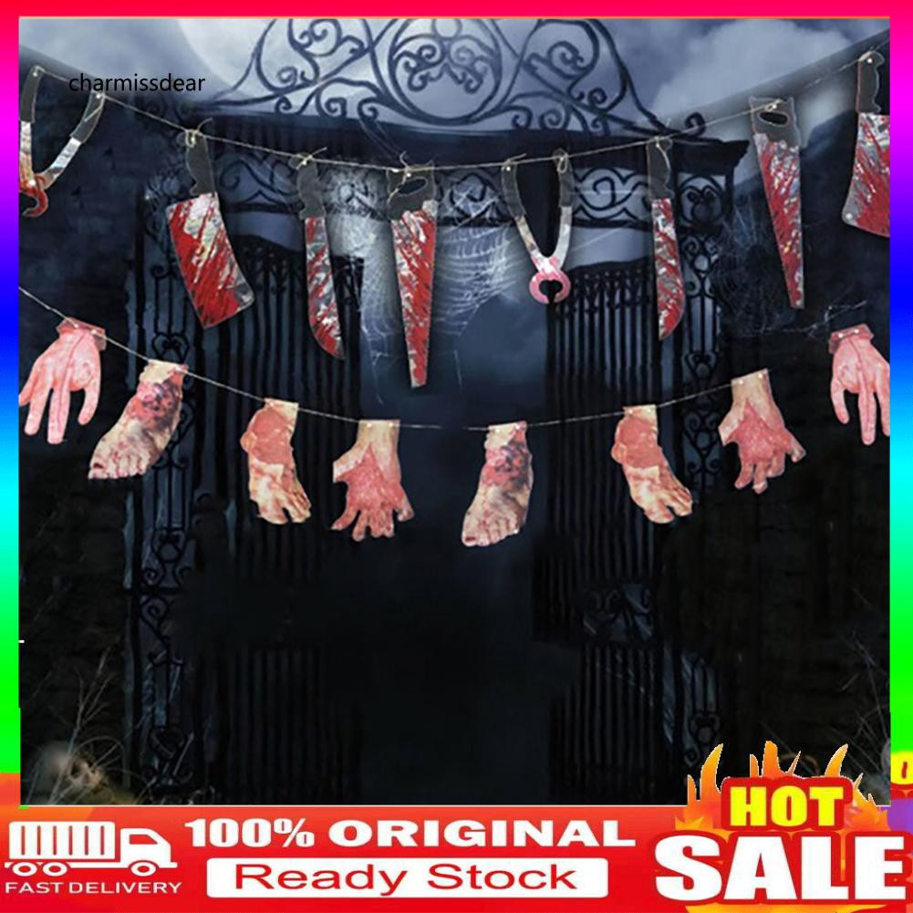 【C.WSJ】Horrible Halloween Party Haunted House Hanging Garland Pennant Banner Decoration