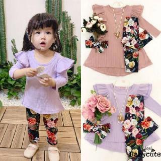 ✪B-BToddler Kids Baby Girl Cotton Clothes Ruffle Long Sleeve Solid Tops Dress Floral Leggings Pants Autumn Outfit