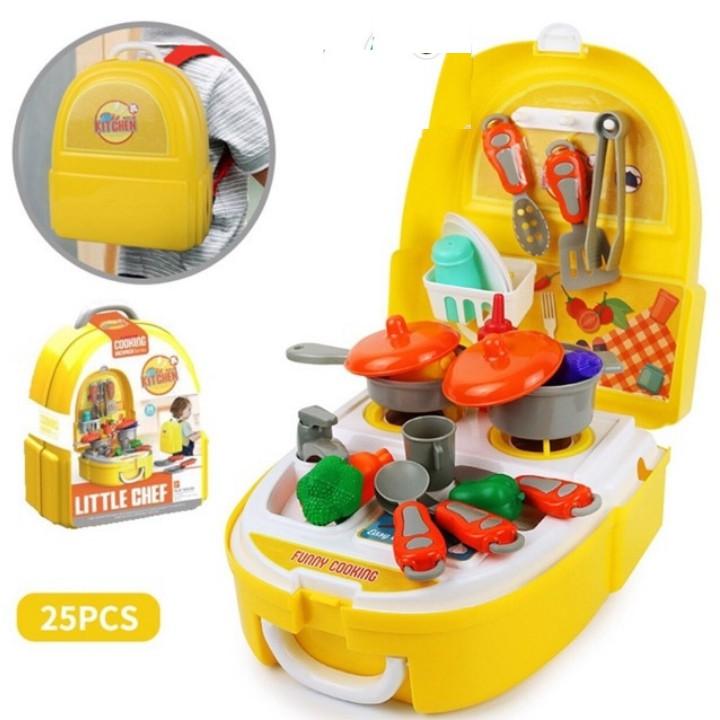Ba lô đồ chơi hướng nghiệp cho bé 2 in1: Bác sĩ, trang điểm, nấu ăn
