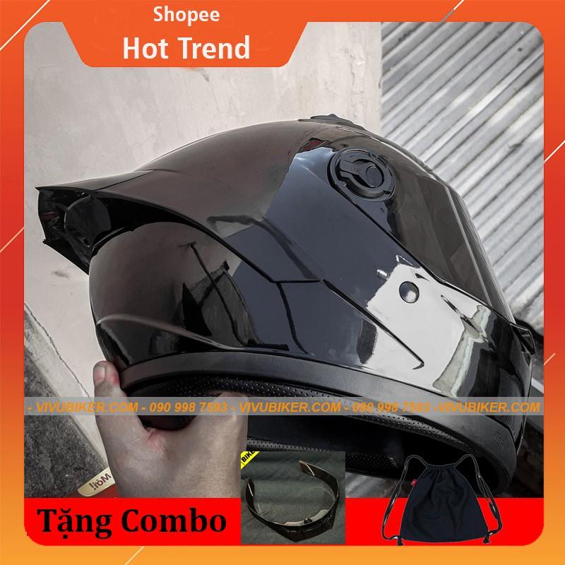 Mũ nón bảo hiểm Fullface đen bóng AGU Limited - Mũ fullface đen nhám kèm đuôi gió Pista cực ngầu chính hãng