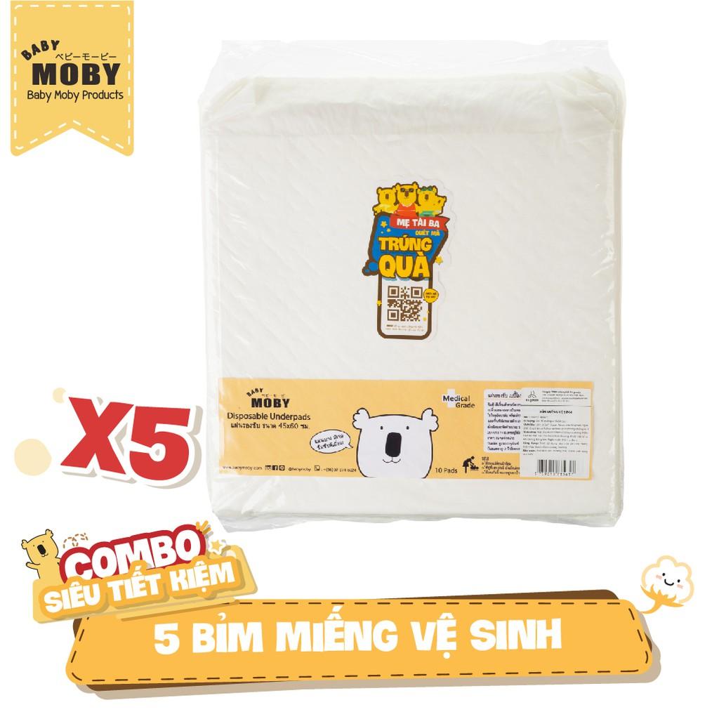 [NHẬP MKBMNAP1111 GIẢM 100K ĐƠN TỪ 500K] 5 Gói bỉm miếng vệ sinh chống thấm Moby (10 miếng/ gói)