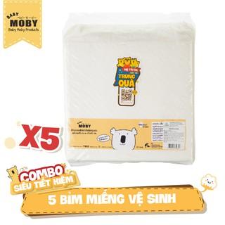 5 Gói bỉm miếng vệ sinh chống thấm Moby (10 miếng gói)