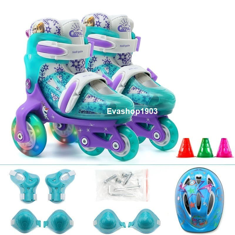 Giày patin trẻ em 2-5 tuổi loại 3 hàng bánh đi được luôn, tặng kèm bảo hộ chân tay, bánh có đèn led