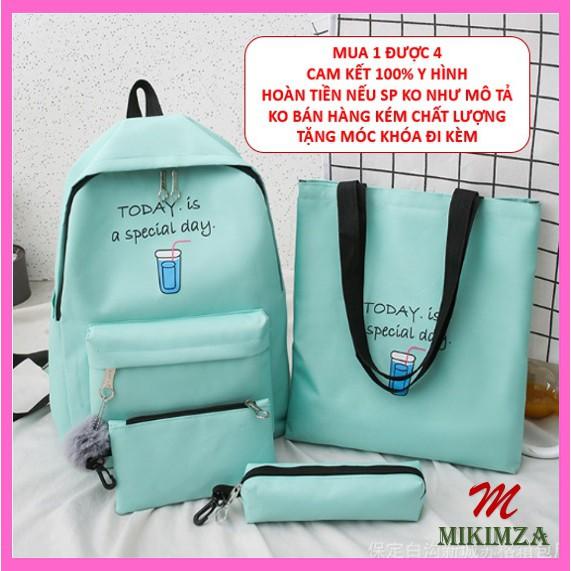 Balo nam nữ đi học combo 4 sản phẩm vải chống nước unisex TODAY MKZ30