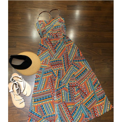 Đầm maxi thổ cẩm xẻ đan lưng [Đầm_đi_biển]