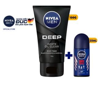 Sữa rửa mặt NIVEA MEN DEEP than đen 100G tặng lăn khử mùi NIVEA MEN khô thoáng 25ML (84415 + 81617)