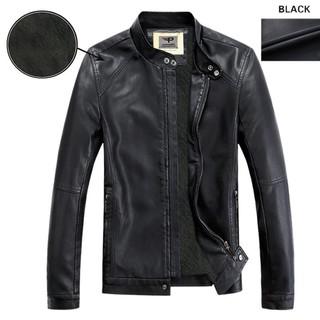 Áo Khoác da nam lót lông thu đông, đen, da02