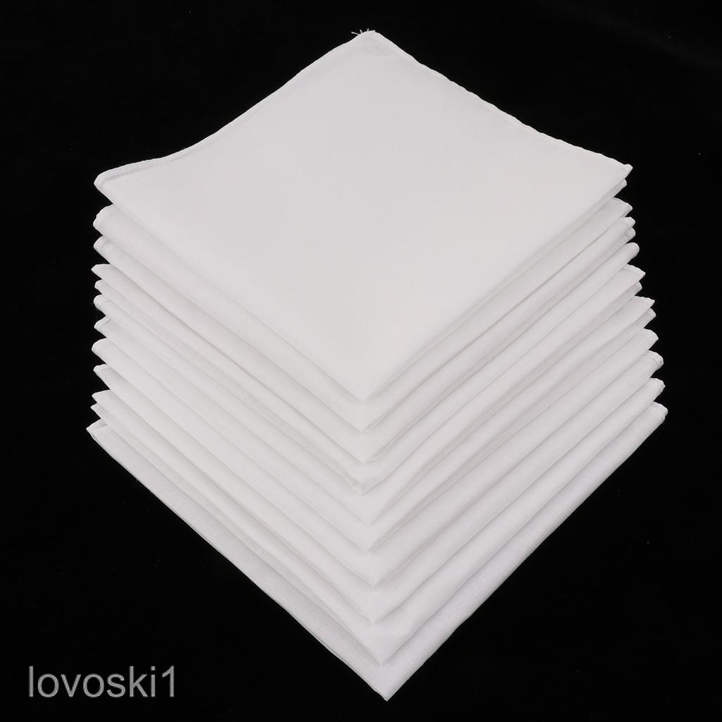 10x Men Women 100% Cotton White Handkerchiefs Comfy Hanky Party Hankies