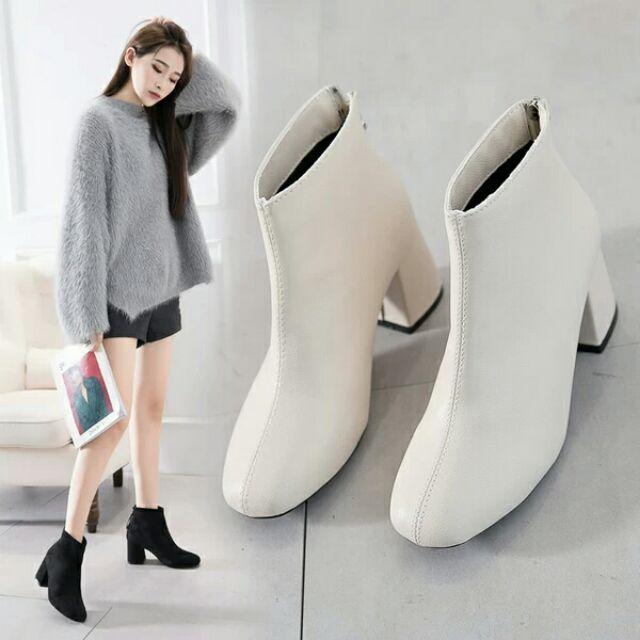 Giày bốt khóa sau đế 7 cm
