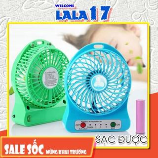 Quạt Mini Cầm Tay / Quạt Để bàn pin sạc / 3 Tốc Độ Có Đèn LED (Full bộ: Quạt + Pin + Dây Sạc)  - Lala17