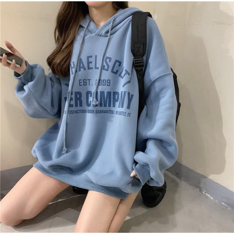 [Mã WACB21 hoàn 20% tối đa 50K xu đơn 99K] Áo hoodie dài tay phong cách Hàn Quốc năng động trẻ trung dành cho nữ