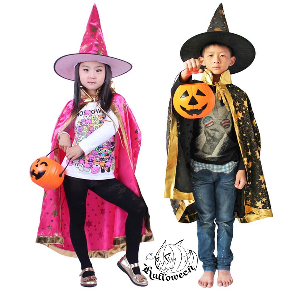 宸 Tao Halloween children's clothing cosplay children's cloak Korean cloak hat pumpkin can light bag set haybo00