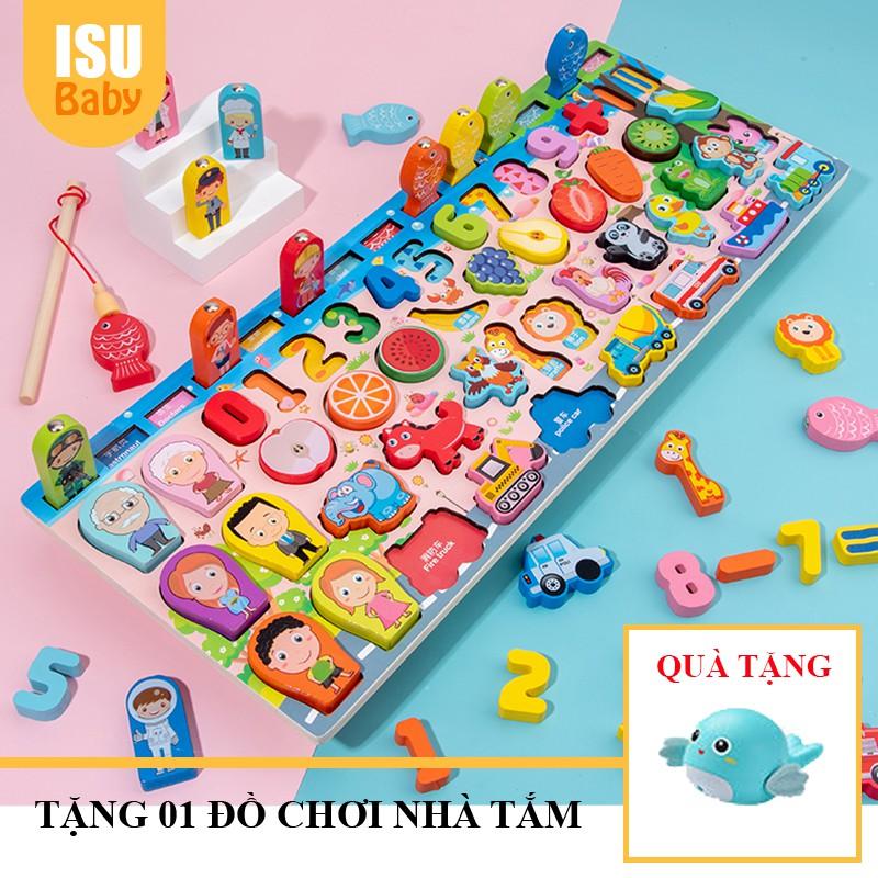 Bộ đồ chơi gỗ Montessori thả hình câu cá 7 trong 1 giúp bé phát triển trí tuệ và thông minh hơn