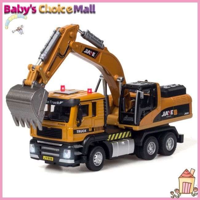 Model Truck Sound Light Pull Back Toy Simulation Excavator/Mixer Alloy 1:50
