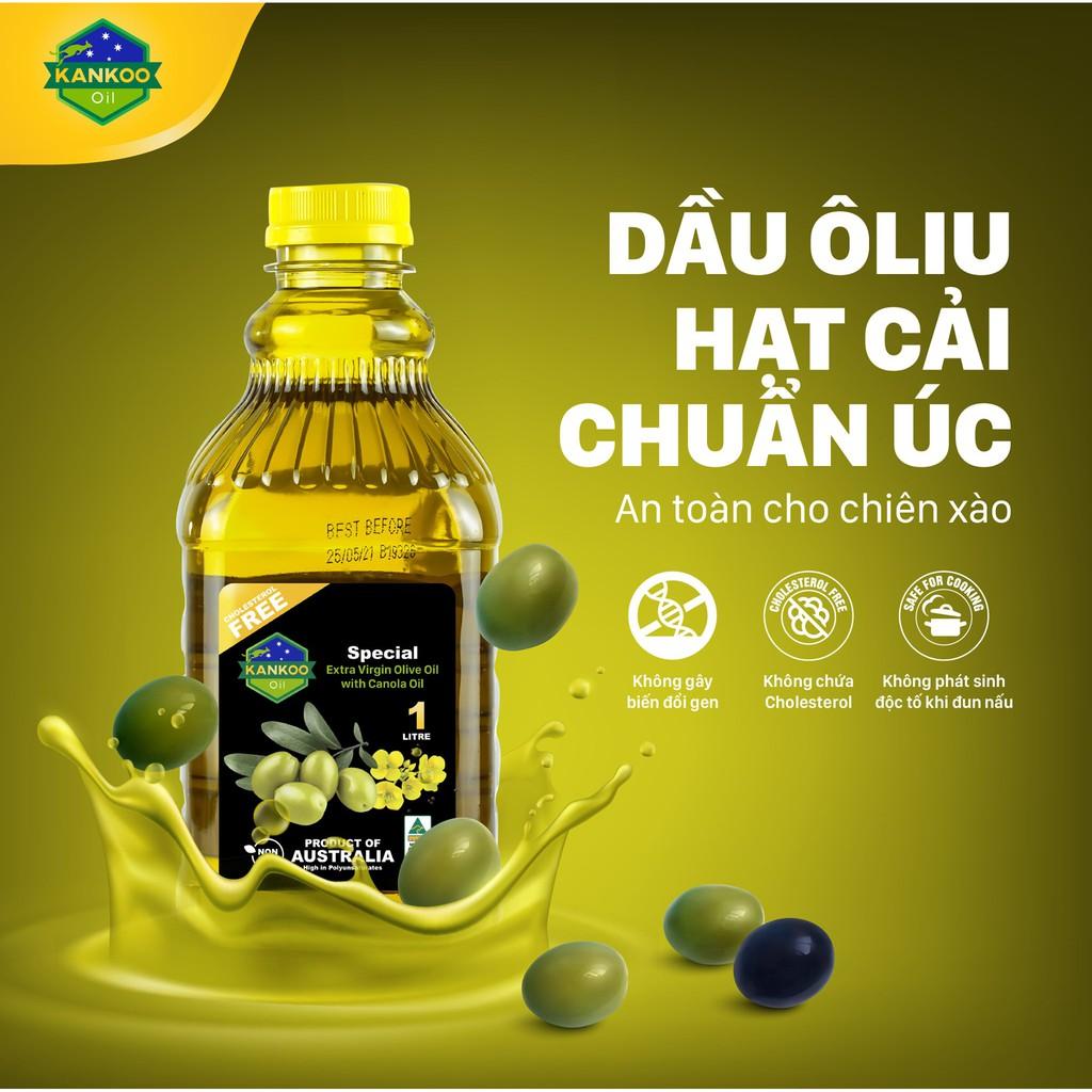 Combo 2 chai 1 lít dầu ăn Kankoo -Dầu oliu (Olive) hạt cải chiên xào, làm Salad nhập khẩu Úc nguyên chai chính hãng