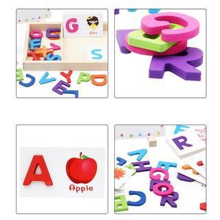 Wooden Learning ABC Alphabet Letter Cards Cognitive Toys