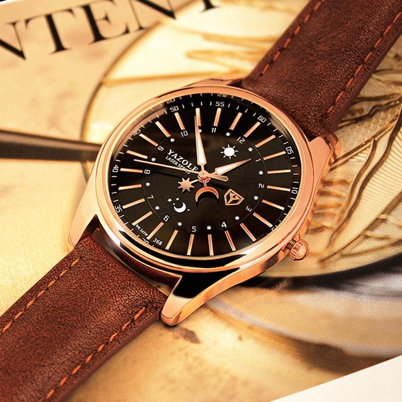 Đồng hồ nam Yazole 368 có dạ quang dây da thời trang sang trọng lịch lãm