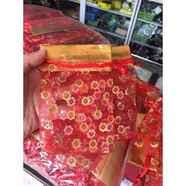 Combo 10 Túi gấm dây rút đỏ đựng đồ