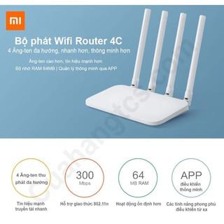 Router Xiaomi Miwifi 4C, Bộ Phát Wifi Xiaomi Router Gen 4C, bộ thu phát sóng wifi tốc độ cao 300Mbps R4CM