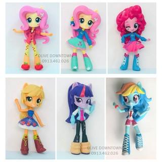 Búp bê Pony 13cm : AppleJack, Fluttershy, PinkiePie, Rainbow Dash, Twilight Sparkle