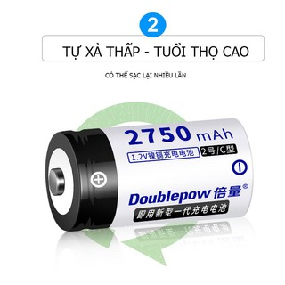 Pin đại sạc lại số 1 size c 2750mah ni-cd - doublepow - loại cao cấp, dung lượng thực - hình 3