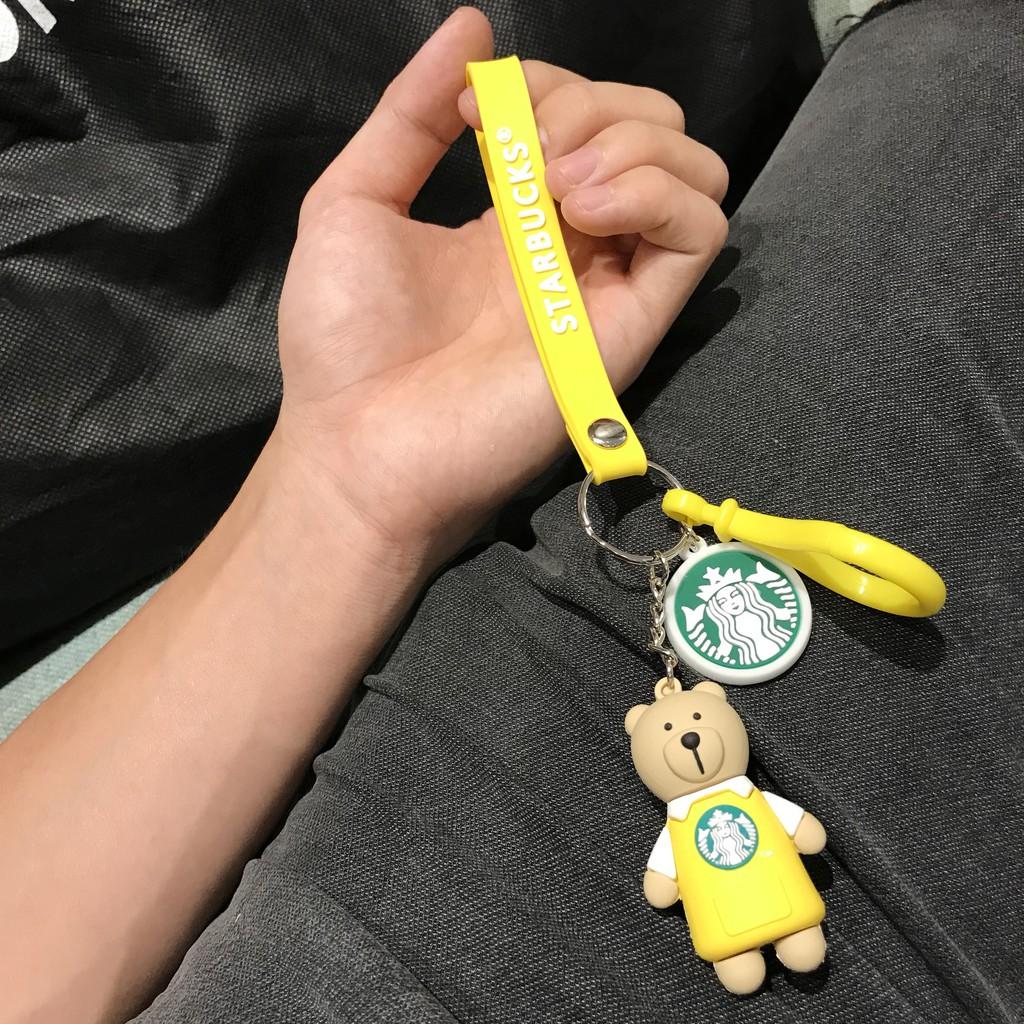 Móc khóa Gấu Starbucks áo vàng