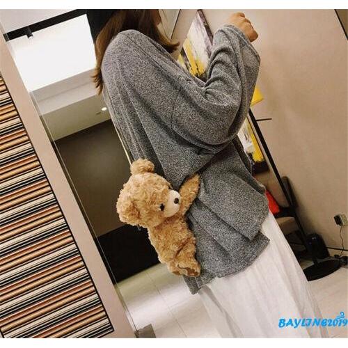 Túi đeo chéo hình gấu nhồi bông đáng yêu cho bạn nữ