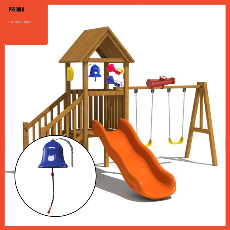 [In Stock] Toys Bell Playground Hanging Bell Swing Set Plastic Playset Backyard Ages 3+