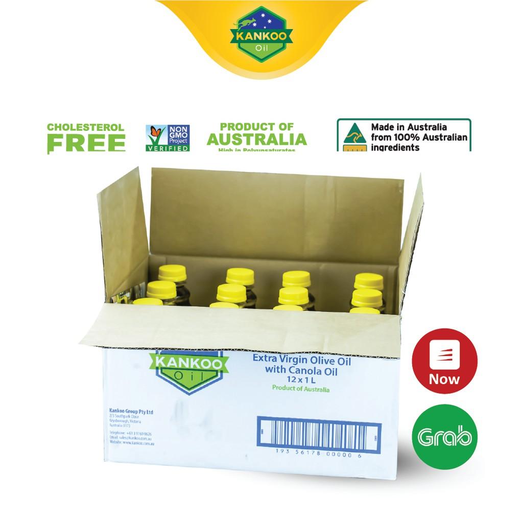 Nguyên thùng dầu ăn Kankoo nhập khẩu Úc loại 1 lít (12 chai), dầu Extra Virgin Oliu và hạt cải ép lạnh nguyên chất