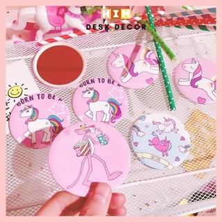 Gương trang điểm cầm tay mini bỏ túi, Gương cầm tay mini phong cách Hàn Quốc Dễ Thương