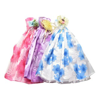 NBY❤❤1 Pcs Handmade Wedding Gown Dresses for Barbies 3 Clors Kids Doll A