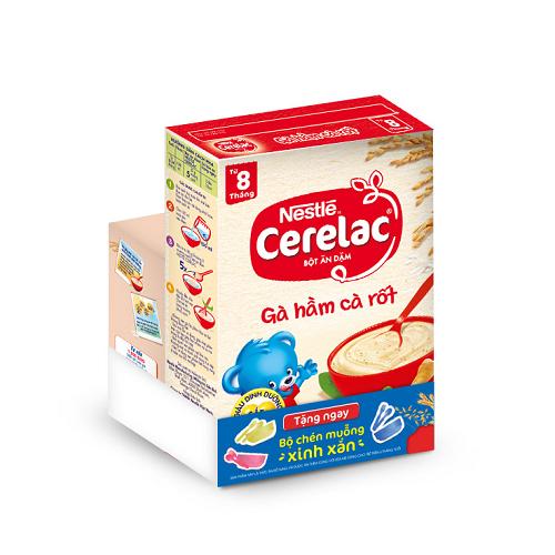 [Tặng kèm bộ ăn dặm trị giá 60k] Bột Ăn Dặm Nestle Cerelac - Gà Hầm Cà Rốt (200g)