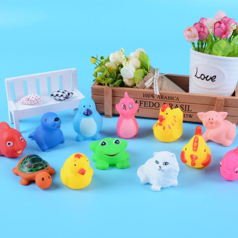 Set 13 đồ chơi hình động vật bằng silicon có âm thanh cho trẻ em