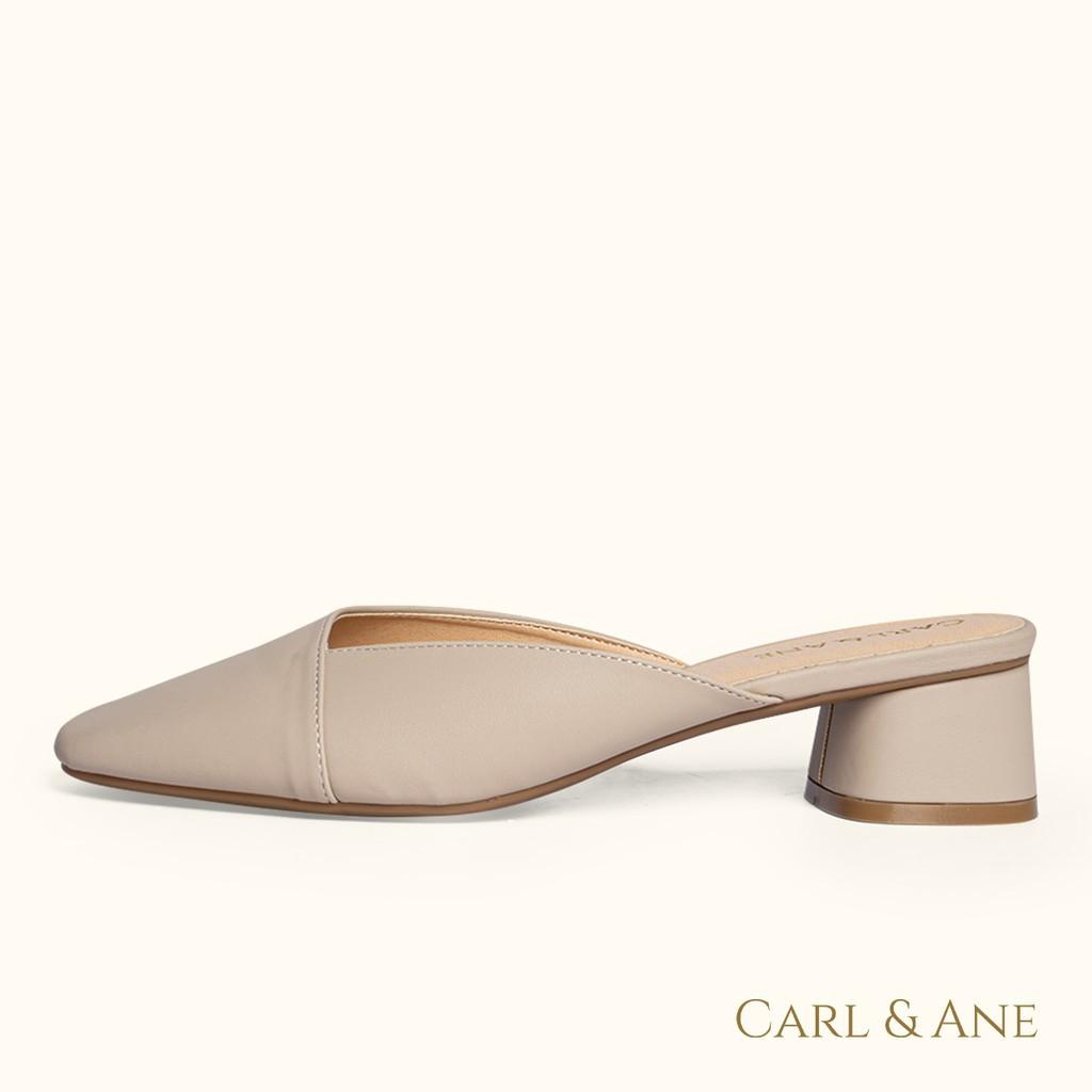 Dép sục bít mũi gót vuông kiểu dáng đơn giản cao 4 phân màu nude thương hiệu Carl & Ane - CL008