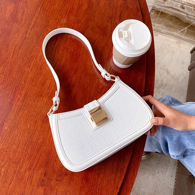 Túi kẹp nách nữ khóa vuông da vân thời trang cao cấp, hàng loại 1 GL68