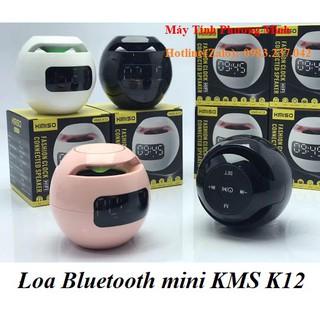 Loa Bluetooth mini KMS K12 có đồng hồ, có khe cắm thẻ nhớ, cute với 3 màu Hồng phấn/Đen/trắng