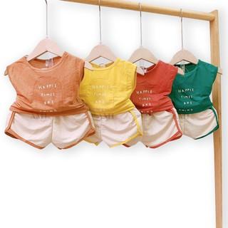Đồ bộ quần áo ba lỗ cho bé chất cotton đũi hoạt tiết happie chạy viền quần QATE551