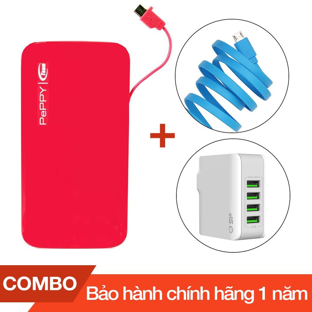 Combo Pin dự phòng 5.000mAh Team Peppy WP02 + Cáp sạc microUSB Romoss dài 1m + Cốc sạc 4 cổng USB 4.