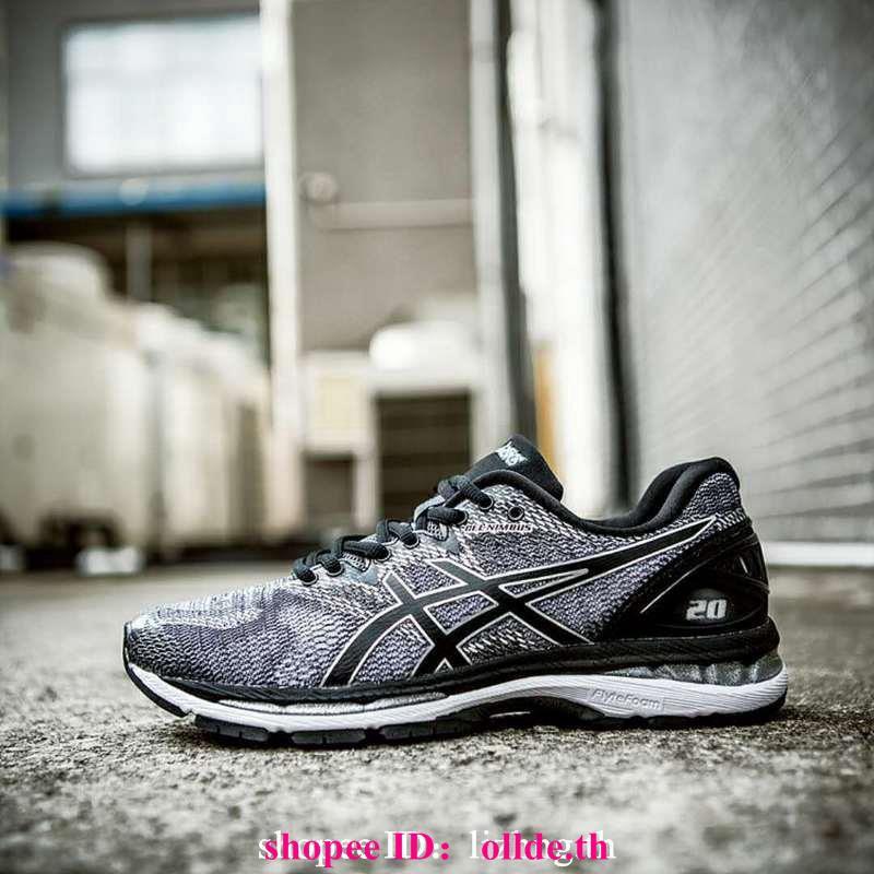 เดิม GEL-NIMBUS 20 รุ่น ASICS เบาะรองเท้าวิ่งที่มีเสถียรภาพสีเทาสีดำ T800N-9790 <P1>