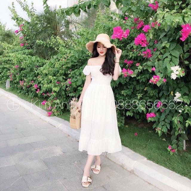 Váy Đũi Trễ Vai Tay Bèo Hot Trend (chuẩn ảnh)