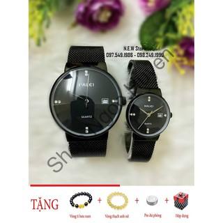 Đồng hồ cặp đôi dây thép lụa Halei Black Shop Ngọc Huyền