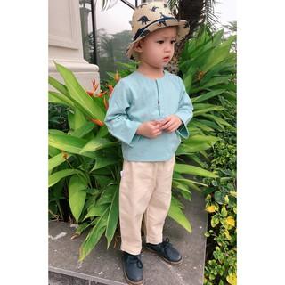 Bộ bé trai thiết kế, áo màu xanh mint bạc hà, phong cách bắc u