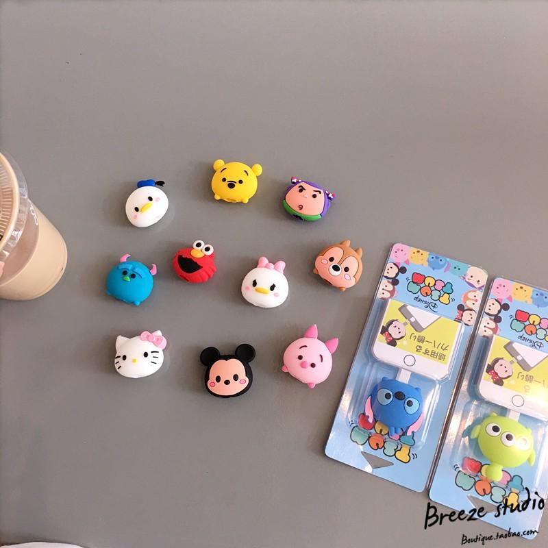 Bọc đầu dây cáp sạc Disney nhân vật hoạt hình dễ thương Line Friend, Toro, Hello Kitty