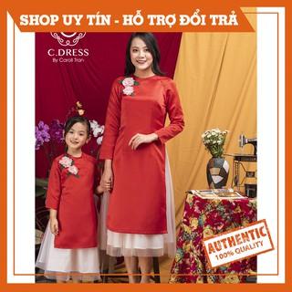Áo dài cách tân mẹ và bé, áo tân thời cho bé màu đỏ