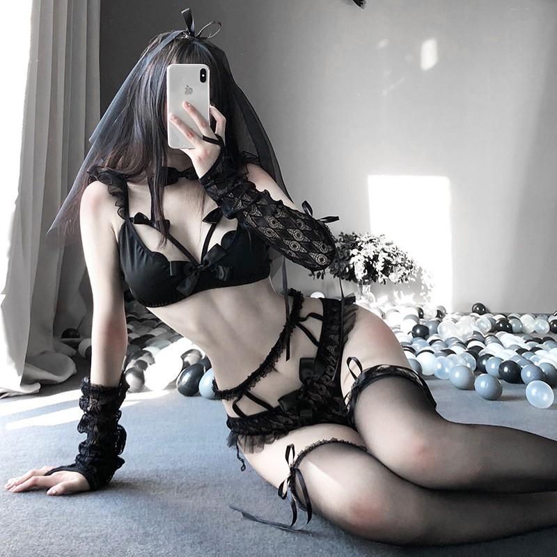 Set bộ lót cosplay Cô dâu bóng đêm sexy.A42