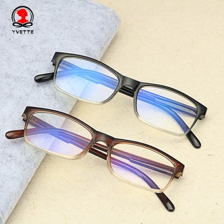 YVETTE Fashion Gradient Reading Glasses Spring Hinge Readers Blue Light Blocking Vision Care Diopter +1.0~4.0 Ultralight Eyewear Presbyopic Glasses black/brown/purple