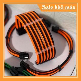 Dây nguồn nối dài mix màu bọc lưới 24Pin- 8 pin -6Pin – 4Pin cho VGA và CPU (mix màu theo yêu cầu) – Đen Cam
